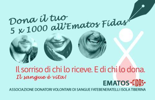 Dona il tuo 5×1000 all'Ematos FIDAS, il sangue è vita!