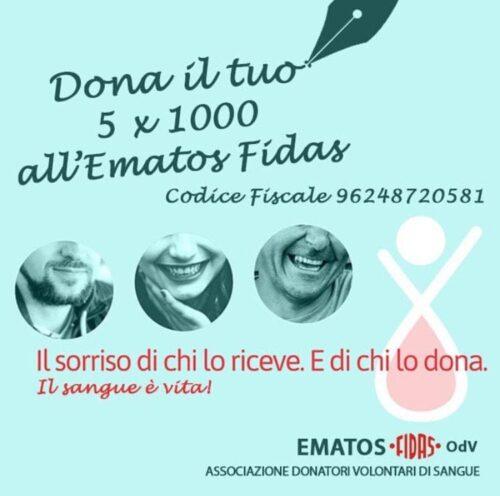 Dona il tuo 5×1000 all'Ematos FIDAS OdV… il sangue è vita!